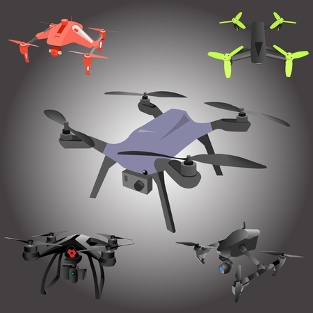 Set of cartoon drones. Isometric. Vector illustration.