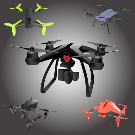 airborne: Set of cartoon drones. Isometric. Vector illustration.