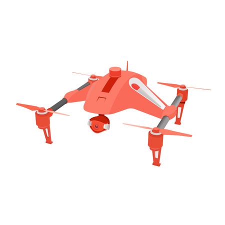 airborne: Realistic remote air drone quad-copter with camera. Vector illustration.