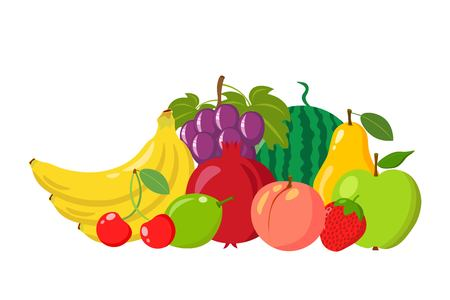 Heap of natural fruits isolated on white background. Cartoon and flat style. Vector illustration Illustration