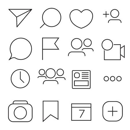 Set internet pictogrammen. Lijn, overzichtstijl. Vector afbeelding illustratie.