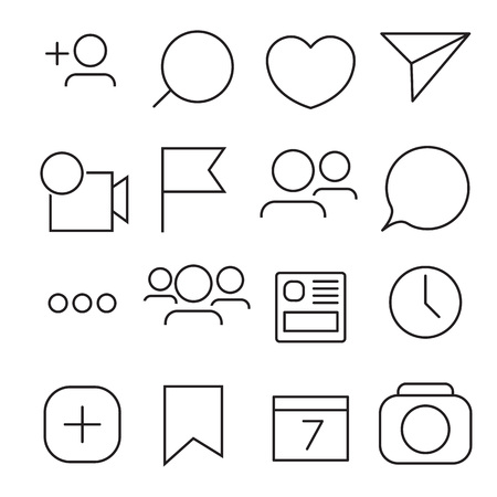 Set of Internet icons. Line, outline style. Vector image illustration.