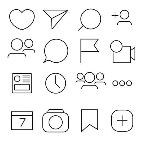 Set of Internet icons. Line, outline style. Vector image illustration Ilustração