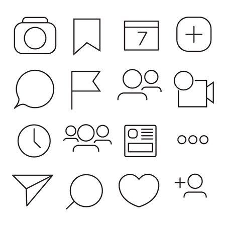 Set of Internet icons. Line, outline style. Vector image illustration Ilustrace