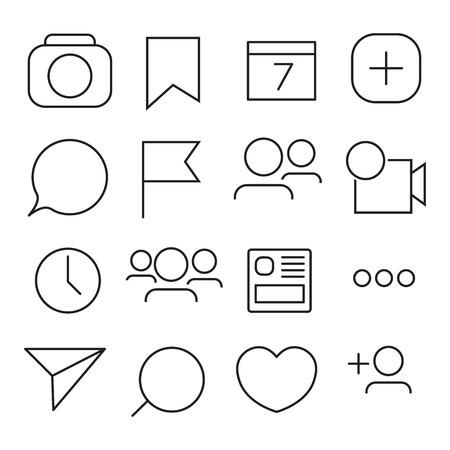 Set van internet pictogrammen. Lijn, kaderstijl. Vector afbeelding illustratie Stock Illustratie