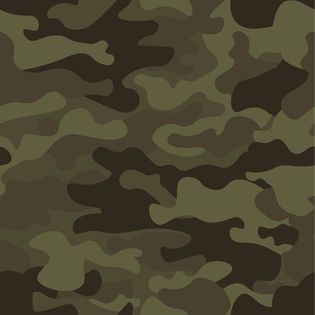 Camouflage seamless pattern background. Classic clothing style masking camo repeat print. Green brown black olive colors forest texture. Design element. Vector illustration. 版權商用圖片 - 83627886