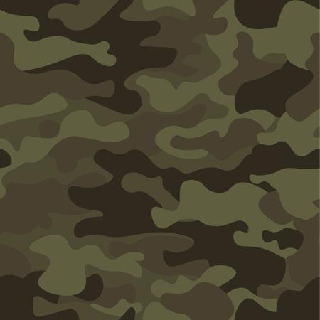 Fondo del modelo del camuflaje inconsútil. Impresión clásica de la repetición del camo del enmascaramiento del estilo de la ropa. Textura verde del bosque de los colores de la aceituna negra marrón verde. Elemento de diseño. Ilustración del vector.