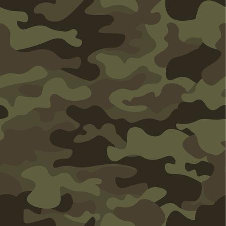 Camouflage naadloze patroon achtergrond. Klassieke kledingstijl maskerende camo herhaal print. Groene bruine zwarte olijfkleuren bos textuur. Ontwerpelement. Vector illustratie.