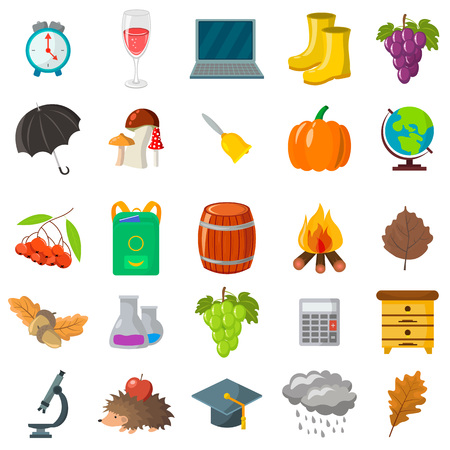 Autumn, school icon set. Cartoon and flat style. White background. Vector illustration.