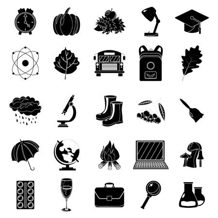 Autumn, school icon set. Black and white style. White background. Vector illustration. Illustration
