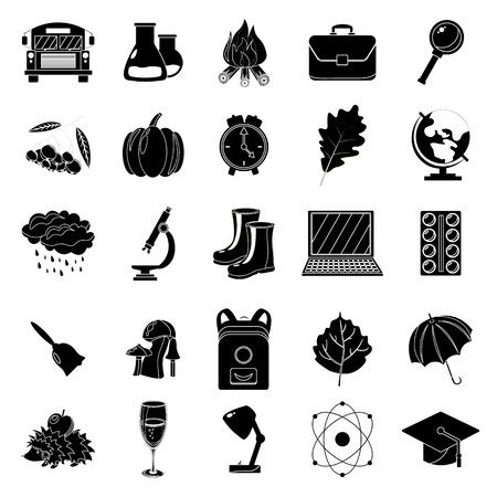 halloween background: Autumn, school icon set. Black and white style. White background. Vector illustration. Illustration