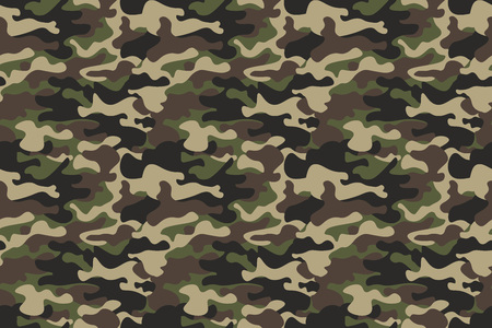 Camouflage seamless pattern background. Horizontal seamless banner. Classic clothing style masking camo repeat print. Green brown black olive colors forest texture. Design element. Vector