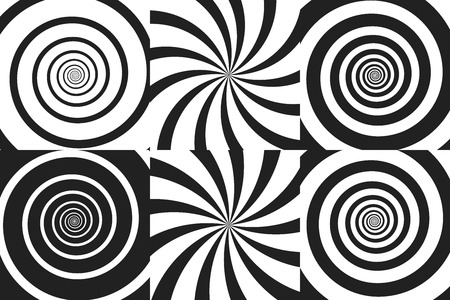 Horizontal banner set of psychedelic spiral with radial rays, twirl, twisted comic effect, vortex backgrounds. Vector illustration. Design elements.