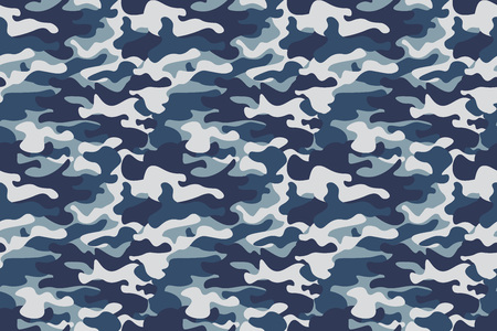 Horizontal banner seamless camouflage pattern background. Classic clothing style masking camo repeat print. Blue, navy cerulean grey colors forest texture. Design element. Vector illustration. Ilustracja