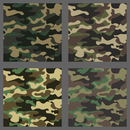 Set of camouflage seamless patterns background. Classic clothing style masking camo repeat print. Green,brown,black,olive,blue,ocean,pink,orange colors texture. Design element Vector