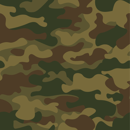 Seamless camouflage pattern. Khaki texture, vector illustration. Camo print background. Abstract military style backdrop. 免版税图像 - 92180515