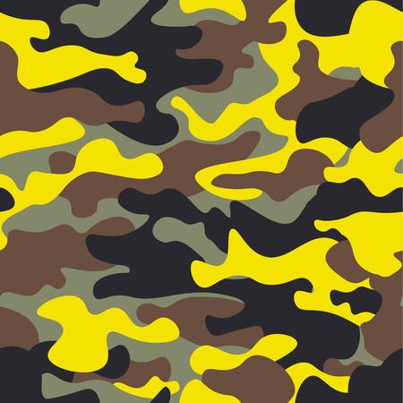 Breites Waldland der nahtlosen Mode und gelbes camo Muster vector Illustration für Ihr Design Klassische Kleidungsart, die camo Wiederholungsdruck maskiert