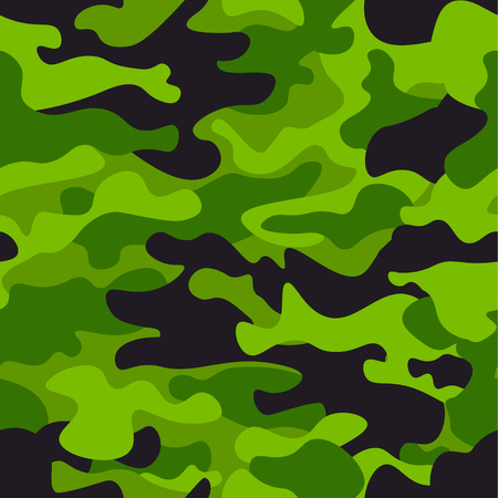Green camouflage seamless pattern background. Classic clothing style masking camouflage repeat print. Green, lime, black olive colors forest texture. Design element.