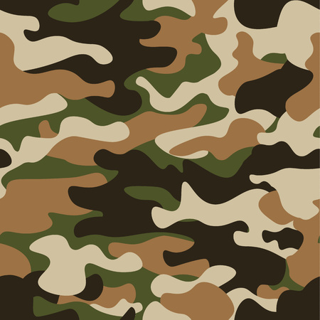 Modern fashion vector trendy camo pattern.Classic clothing style masking camo repeat print. Green brown black olive colors forest texture. Ilustração