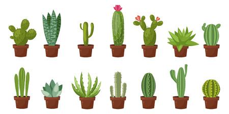Horizontale bannerreeks van woestijn, ruimte groene cactus. Flat, cartoon stijl. Vector illustratie witte achtergrond. Element ontwerp Stock Illustratie