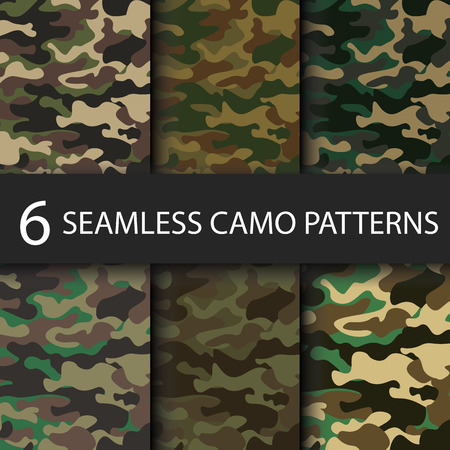 Set of 6 pack Camouflage seamless patterns background with black shadow. Classic clothing style masking camo repeat print. Bright colors of forest texture. Vector illustration web design and clothes