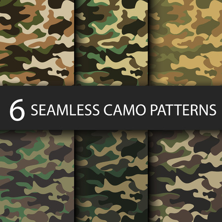 Set of 6 pack Camouflage seamless patterns background with black shadow.