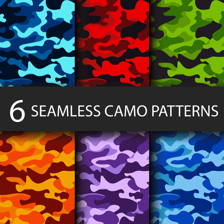 Set of 6 pack Camouflage seamless patterns background with black shadow. Classic clothing style masking camo repeat print. Bright colors of forest texture. Vector illustration web design and clothes 免版税图像 - 101264655
