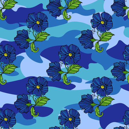 Tropic flowers on the camouflage background. Vector seamless pattern. Camo flower tropical illustration. For your web design,clothes, repeat print, clothing Stock Illustratie