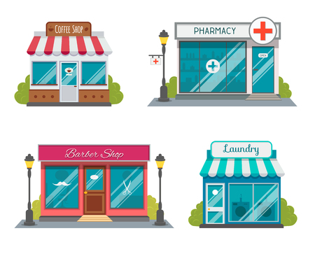 Modern fast food restaurant and shop buildings, store facades, boutiques with showcase flat icons. Exterior market and restaurant, illustration of exterior facade store building.