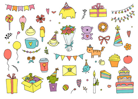 Hand Drawn Doodle Vector Happy Birthday Set. Vector illustration Stock Illustratie