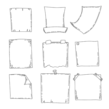 Hand drawn sheets of paper. Cartoon vector square borders. Pencil effect shapes isolated