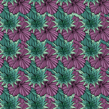 Tropic flowers on the camouflage background. Vector seamless pattern. Camo flower tropical illustration. For your web design,clothes, repeat print, clothing Illustration