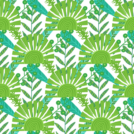 Nature seamless pattern. Hand drawn abstract tropical summer background palm, monstera leaves in silhouette, line art, grunge, scribble textures. Vector tropic illustration in natural green colors.