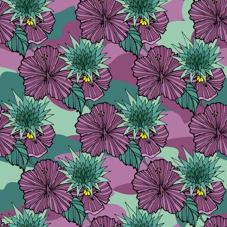 Tropic flowers on the camouflage background. Vector seamless pattern. Camo flower tropical illustration. For your web design,clothes, repeat print, clothing Stockfoto