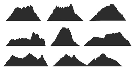 Mountains black silhouettes for outdoor design or travel labels vector set. Black silhouette mountain template, illustration of highland peak mountains for your web design Stock Illustratie