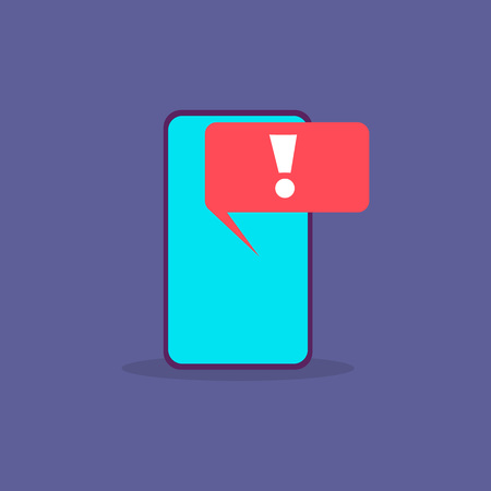 Virus alert. Malware notification on smartphone screen. Hacker attack and spam message vector concept. Illustration of alert screen virus, hacking spam attack.