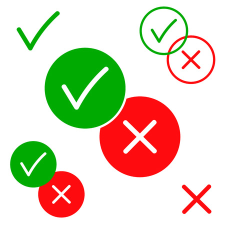 Yes and no, positive and negative vector icons isolated on white background illustration. Green and red color for your design