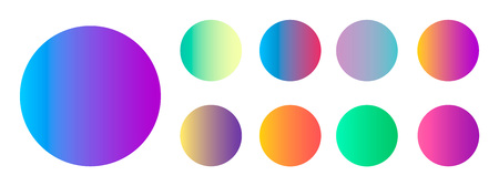 Rounded holographic gradient sphere button. Multicolor green purple yellow orange pink cyan fluid circle gradients, colorful soft round buttons or vivid color spheres flat vector set for your design Stock Illustratie
