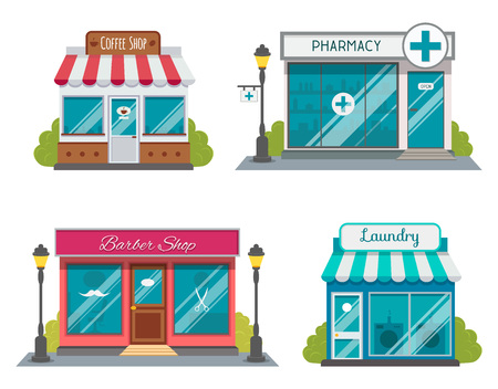 Set of flat shop building facades icons. Vector illustration for local market store house design. Shop facade building, street front commercial market for your design