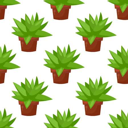 Vector seamless pattern with cactus plant pot, flower. Trendy tropical design for textile, print, clothes
