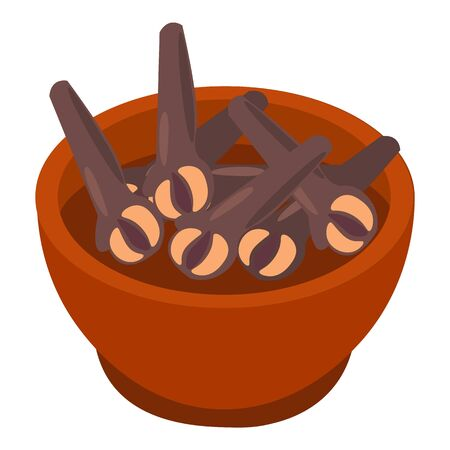 Bowl of cloves spices icon. Isometric of bowl of cloves spices vector icon for web design isolated on white background