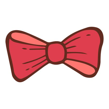 Red holiday bow tie icon. Hand drawn illustration of red holiday bow tie vector icon for web design