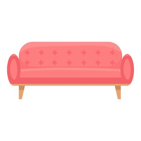 Red color leather sofa icon. Cartoon of red color leather sofa vector icon for web design isolated on white background