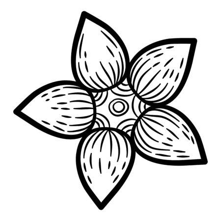 Cute flower icon. Hand drawn illustration of cute flower vector icon for web design Ilustração