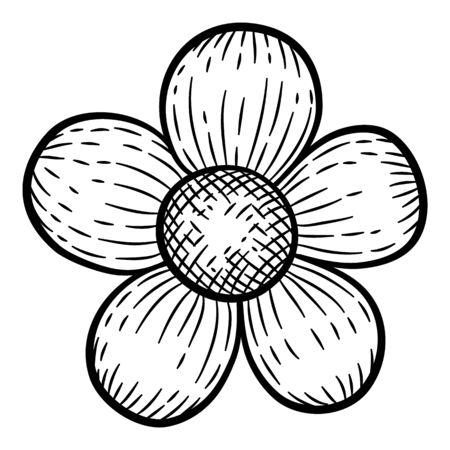 Cute field flower icon. Hand drawn illustration of cute field flower vector icon for web design Ilustração