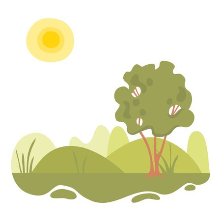 Ecology forest green landscape icon. Cartoon of ecology forest green landscape vector icon for web design isolated on white background