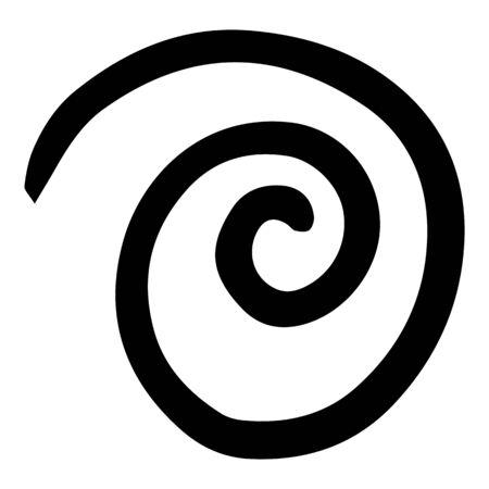 Right spiral element icon. Hand drawn illustration of right spiral element vector icon for web design