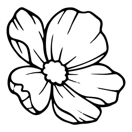 Artistic peony flower icon. Hand drawn illustration of artistic peony flower vector icon for web design