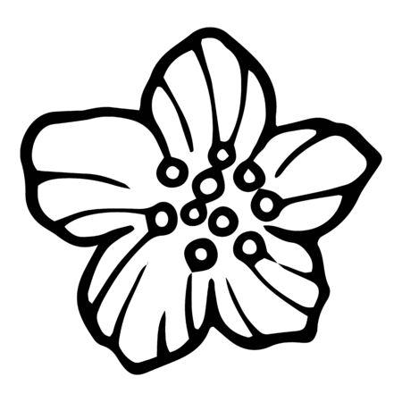 Rose flower element icon. Hand drawn illustration of rose flower element vector icon for web design