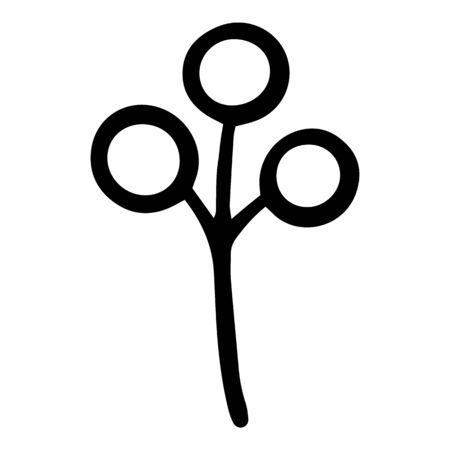 Flower berry branch icon. Hand drawn illustration of flower berry branch vector icon for web design